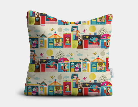 Next Door Buddies Throw Pillow by Ellen Giggenbach - Main