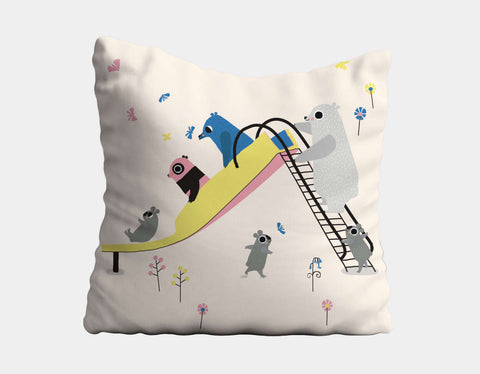 Happy Play Slide Throw Pillow by Sue Downing - Main