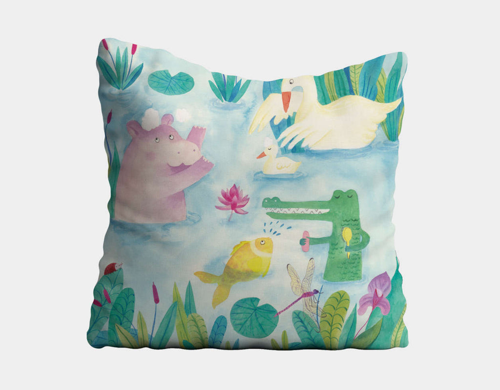 Playing at the Lake Throw Pillow by Betânia Sensini - Main