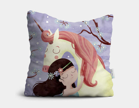 Unicorn Hugs Throw Pillow by Valentina Belloni - Main
