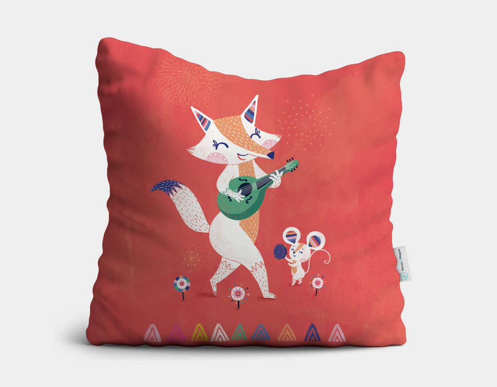 Fox & Mouse Throw Pillow by Antoana Oreski - Main