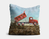 Red Dump Truck Throw Pillow by Brett Blumenthal - Main