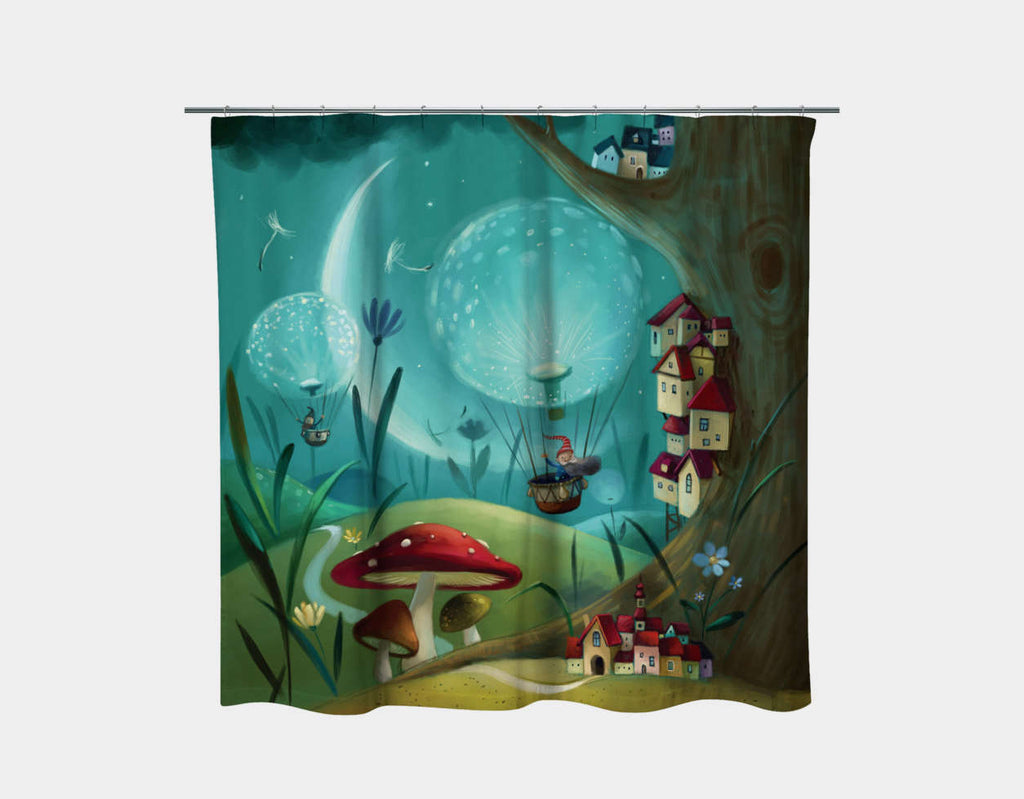 Tree Town Shower Curtain by Marcin Piwowarski - Main
