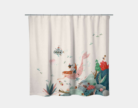 Edie and the Mermaid Shower Curtain by Elodie Coudray - Main