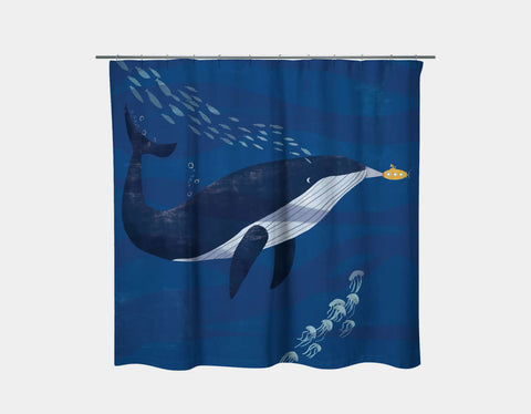Blue Whale and Submarine Shower Curtain by Rebecca Huang - Main