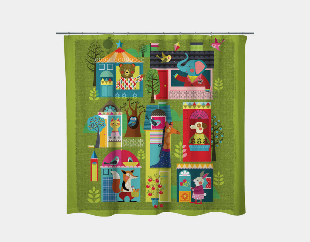 Neighborhood Buddies Shower Curtain by Ellen Giggenbach - Main