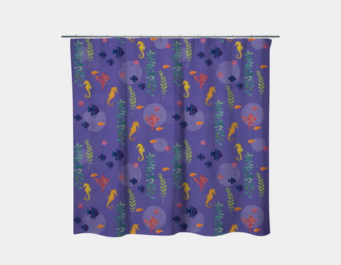 Seahorse Oasis Shower Curtain by Amy Schimler-Safford - Main