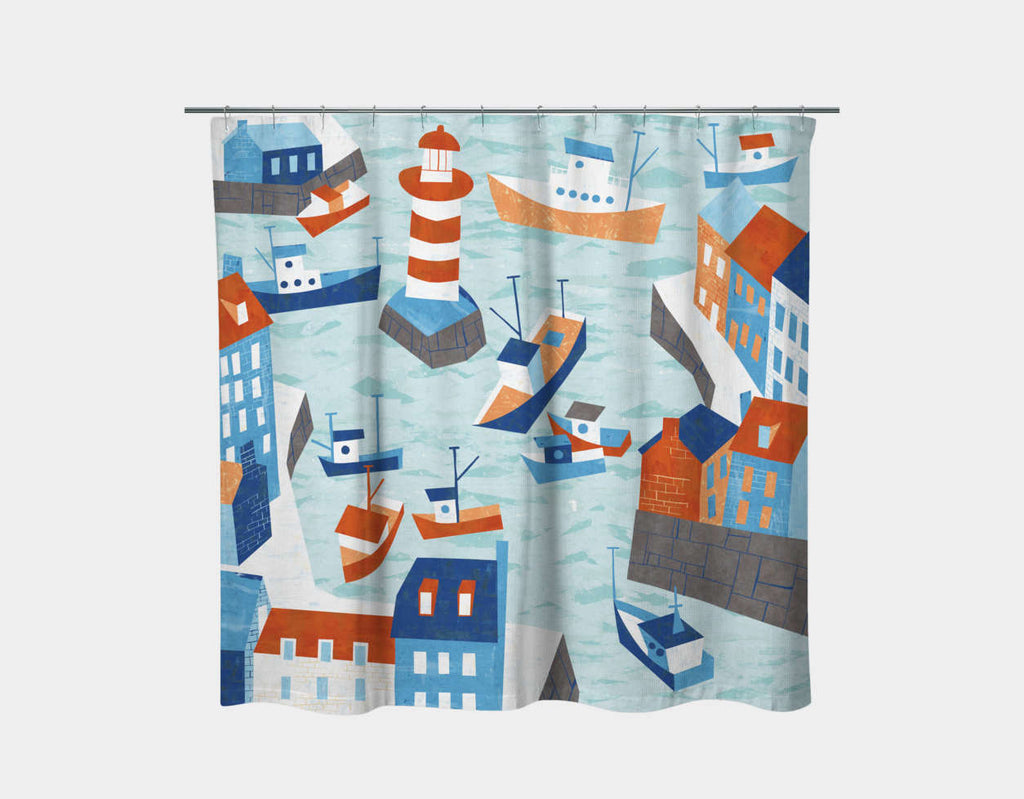 Fishing Village Shower Curtain by Kyle Reed - Main