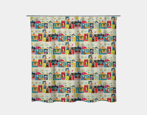 Next Door Buddies Shower Curtain by Ellen Giggenbach - Main
