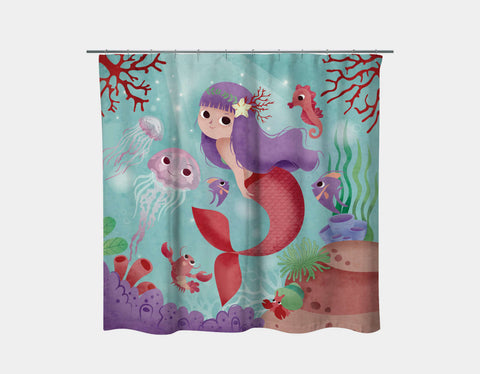 My Friends Under the Sea Shower Curtain by Valentina Belloni - Main