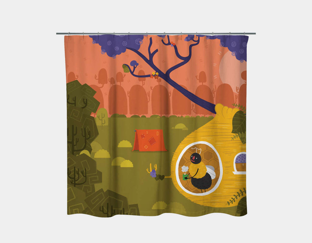 Bumblebee Home Shower Curtain by Erin McLaughlin - Main