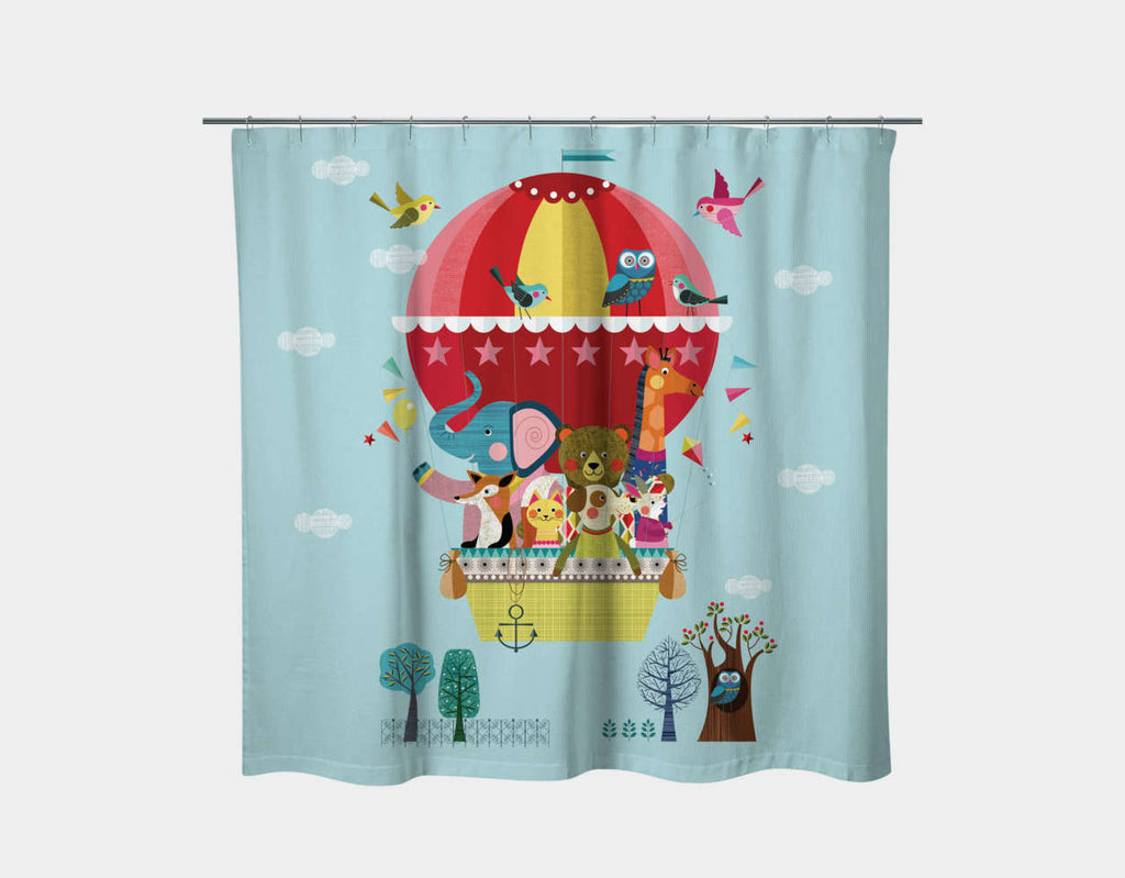 Balloon Buddies Shower Curtain by Ellen Giggenbach - Main