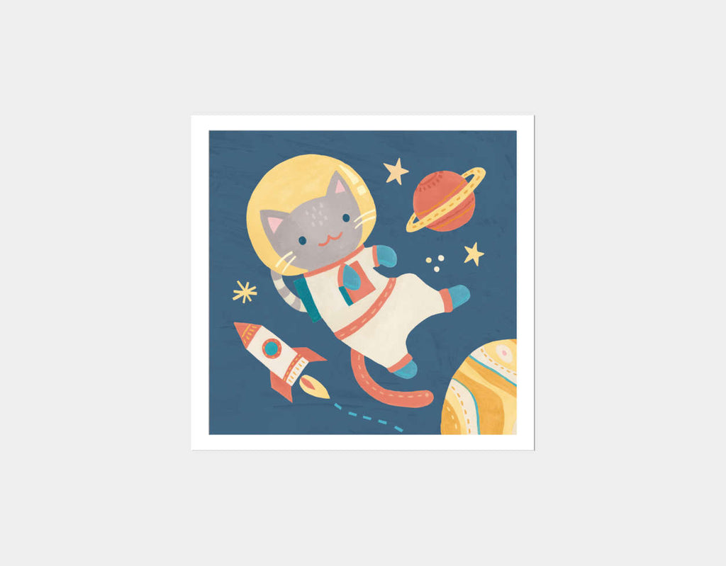 Cat Astronaut Square Framed Art by Irene Chan - White