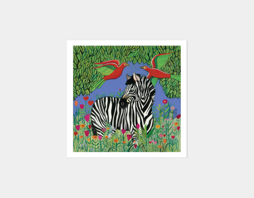 Zebra in the Jungle Square Framed Art by Jenny Reynish - White