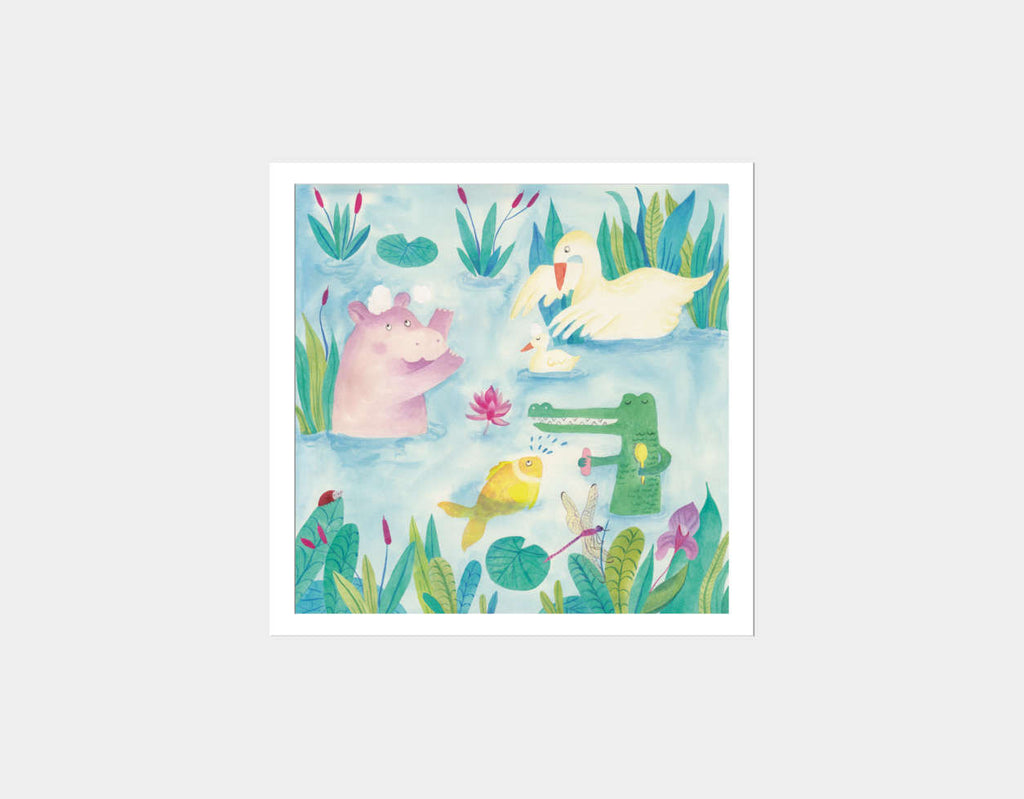 Playing at the Lake Square Framed Art by Betânia Sensini - White