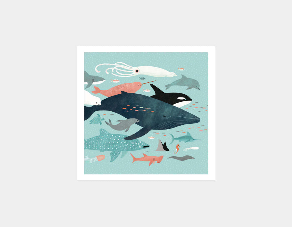 Under the Sea Menagerie Square Framed Art by Emily Dove - White