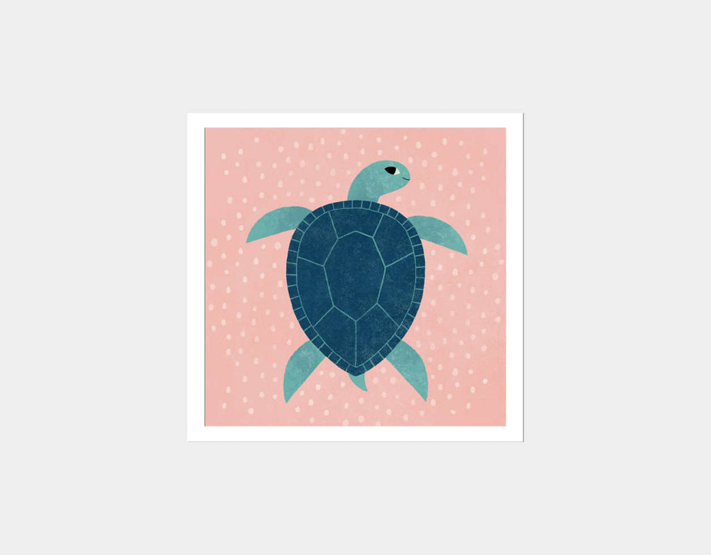 Smiling Sea Turtle Square Framed Art by Emily Dove - White
