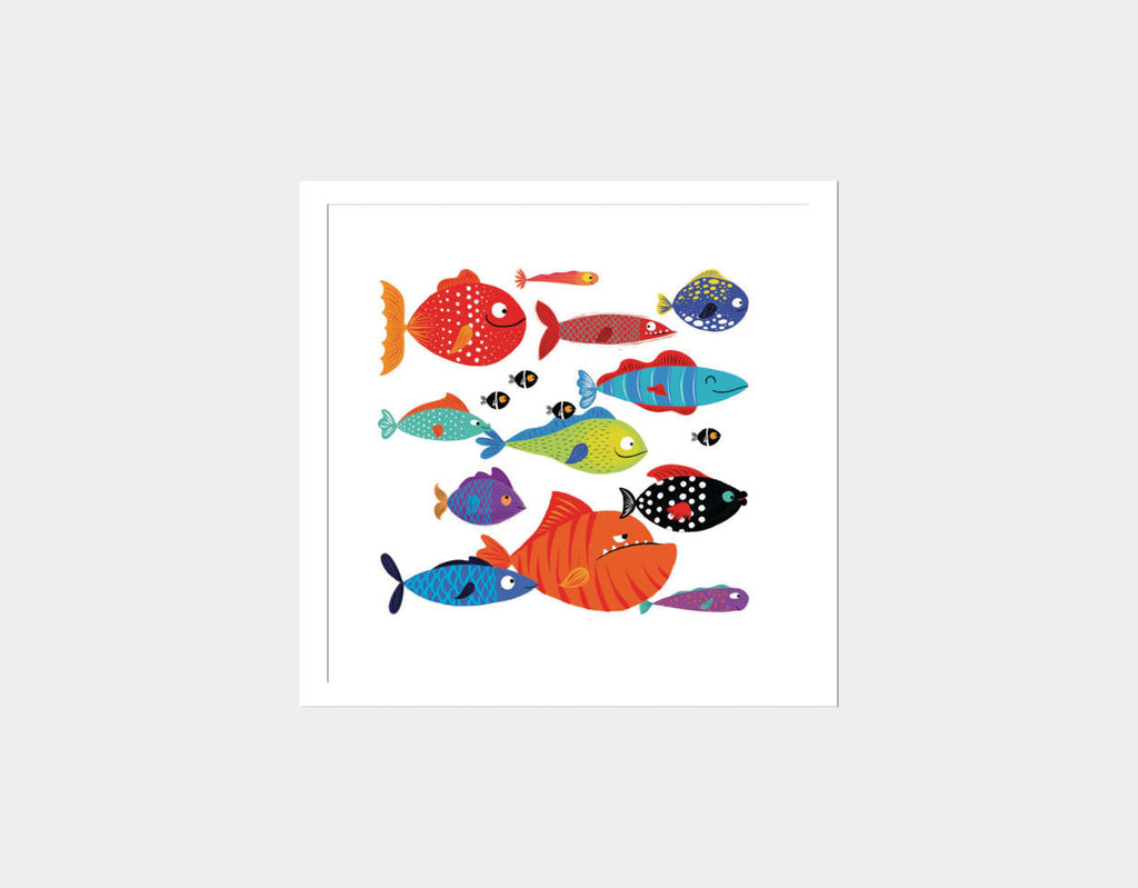 School of Fish Square Framed Art by Hazel Quintanilla - White