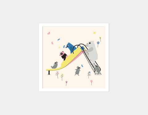 Happy Play Slide Square Framed Art by Sue Downing - White