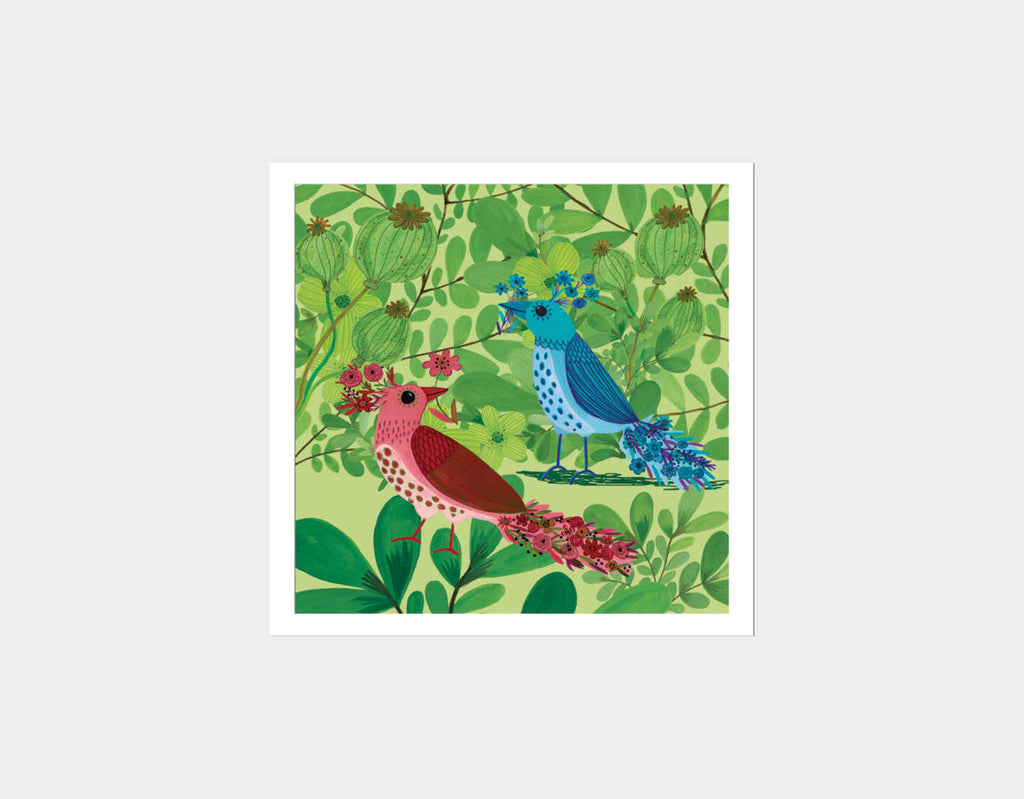 Jungle Birds In The Trees Square Framed Art by Kay Widdowson - White