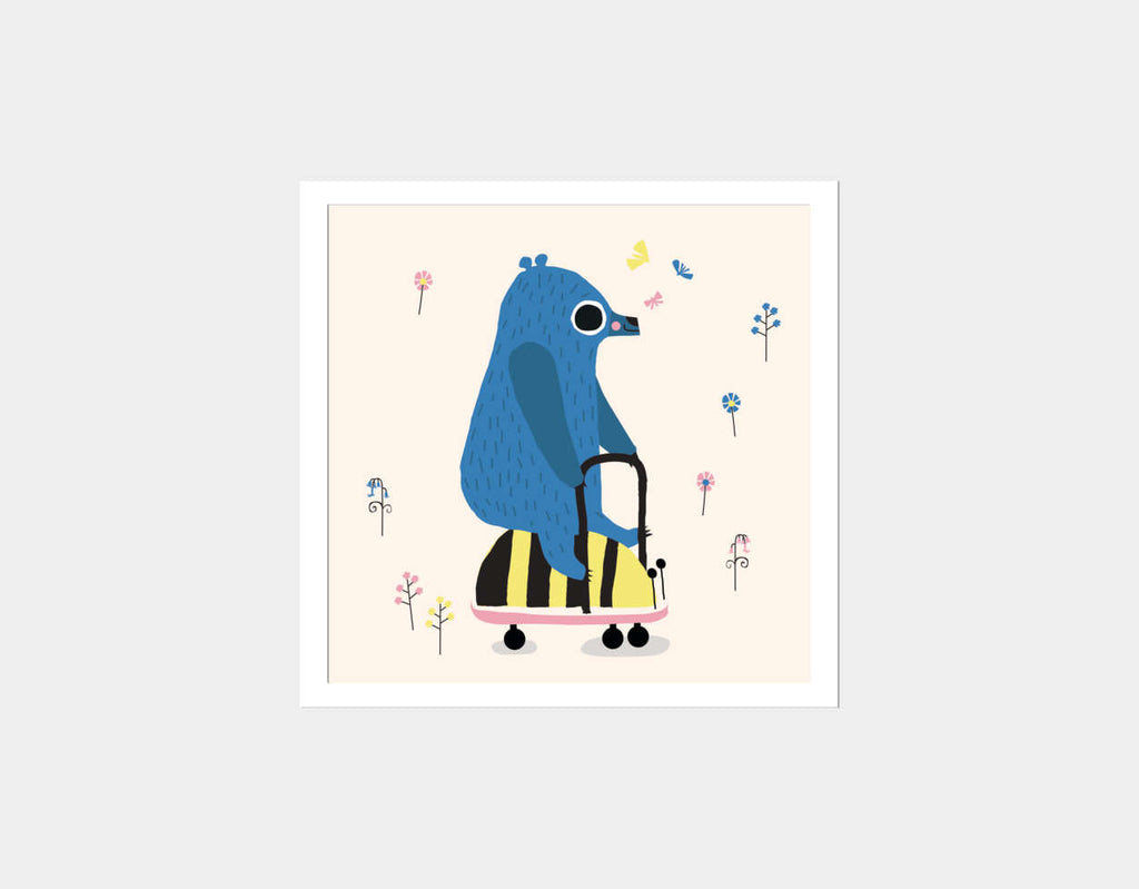 Happy Play Little Blue Bear Square Framed Art by Sue Downing - White