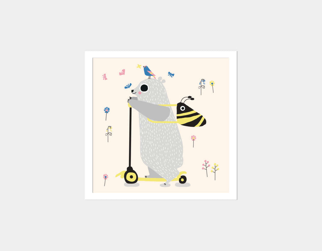 Happy Play Little Polar Bear Square Framed Art by Sue Downing - White