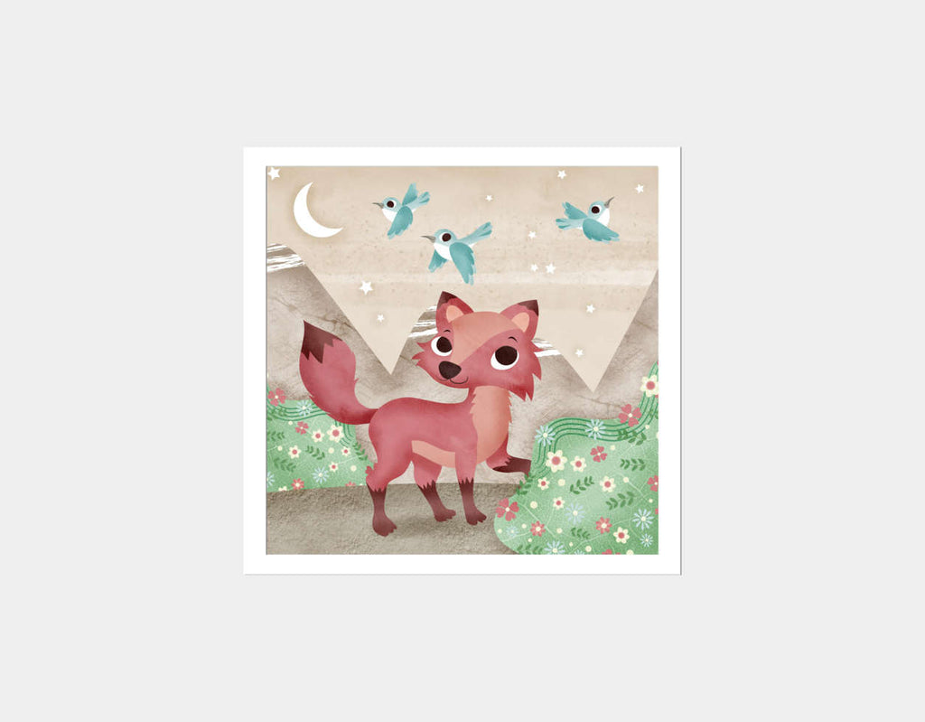Magical Fox Square Framed Art by Valentina Belloni - White