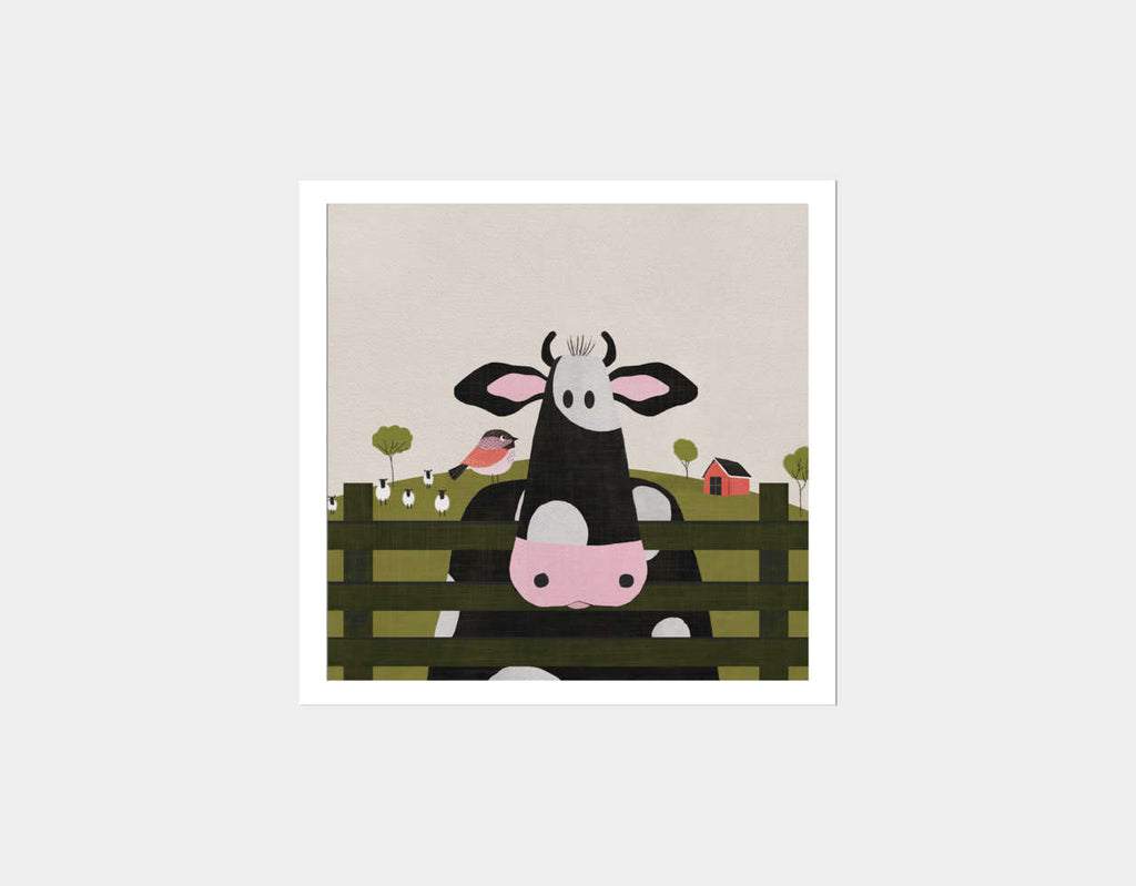 Caley the Cow Square Framed Art by Mel Armstrong - White