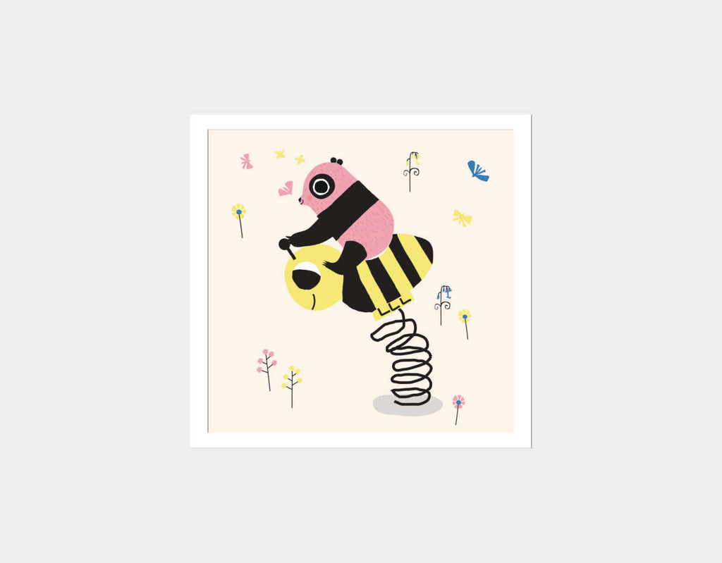 Happy Play Little Pink Panda Square Framed Art by Sue Downing - White