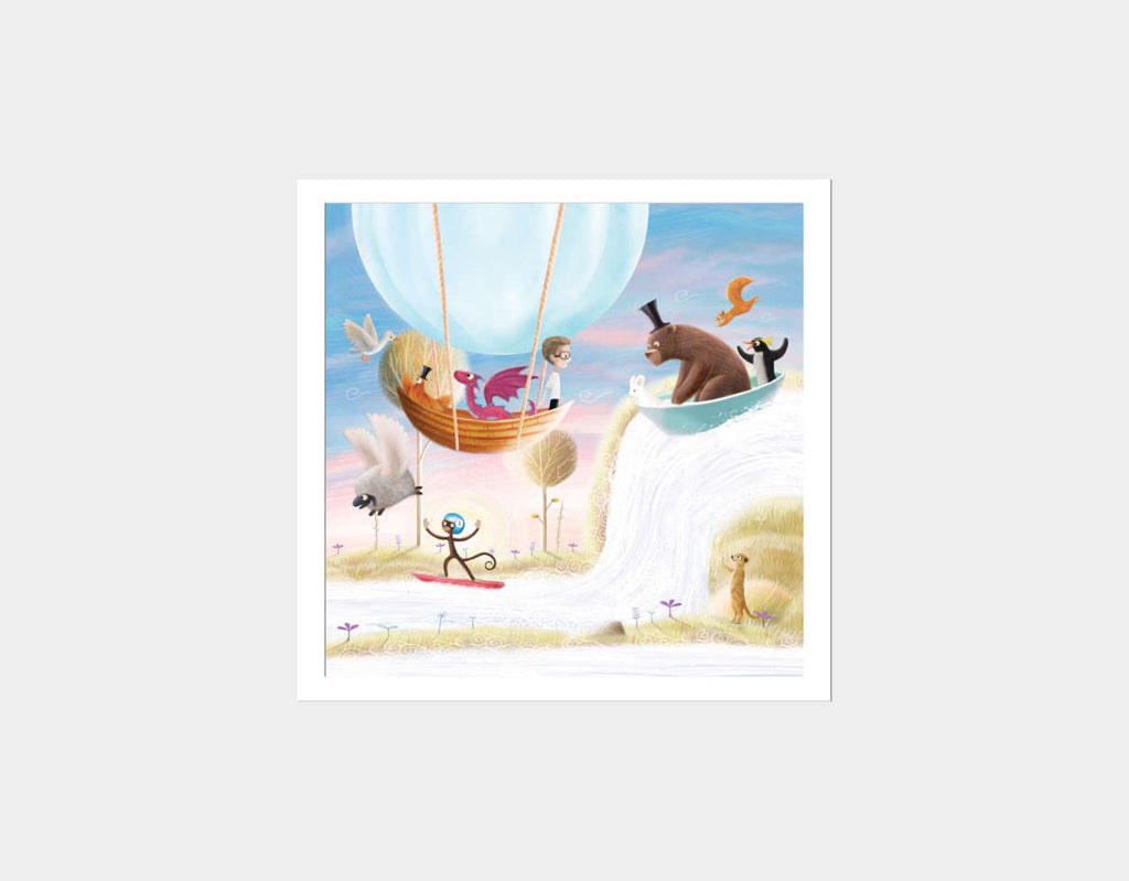 Balloon & Bathtime Ride Square Framed Art by Patrick S Brooks - White