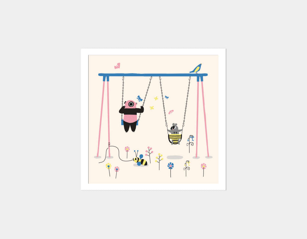 Happy Play Swings Square Framed Art by Sue Downing - White