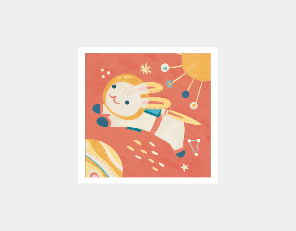 Rabbit Astronaut Square Framed Art by Irene Chan - White
