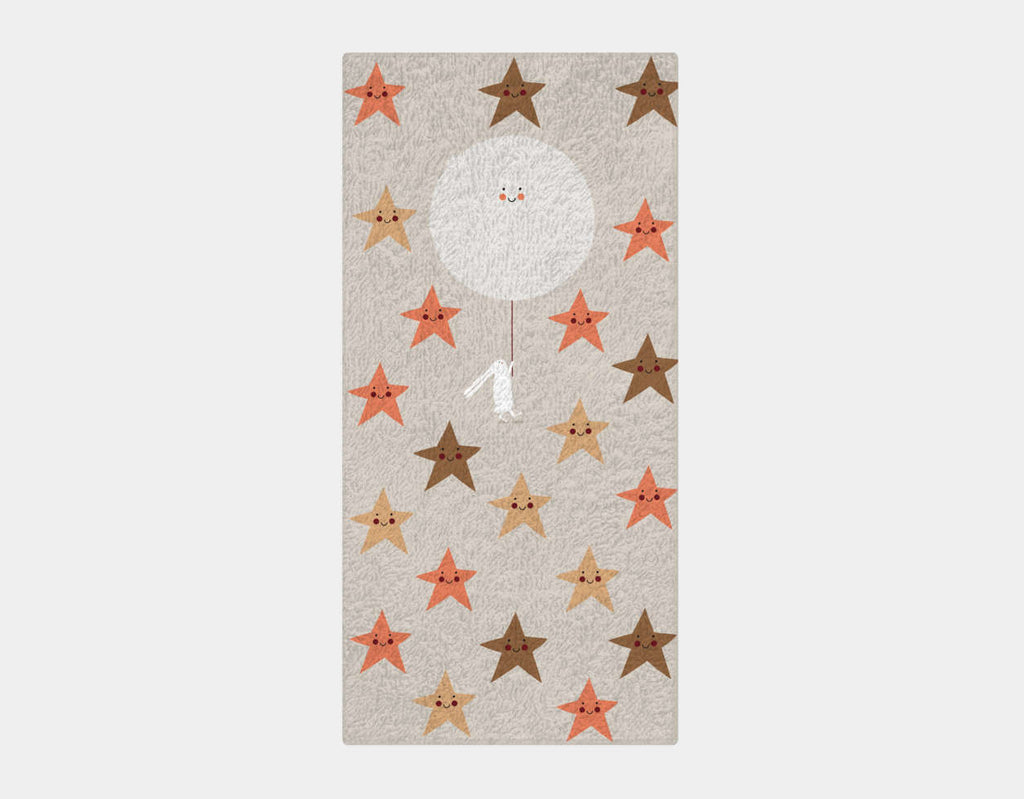Happy Bunnies and The Stars Bath Towel by Sue Downing - Main
