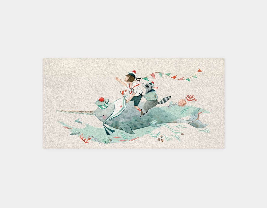 Edie and the Narwhal Bath Towel by Elodie Coudray - Main