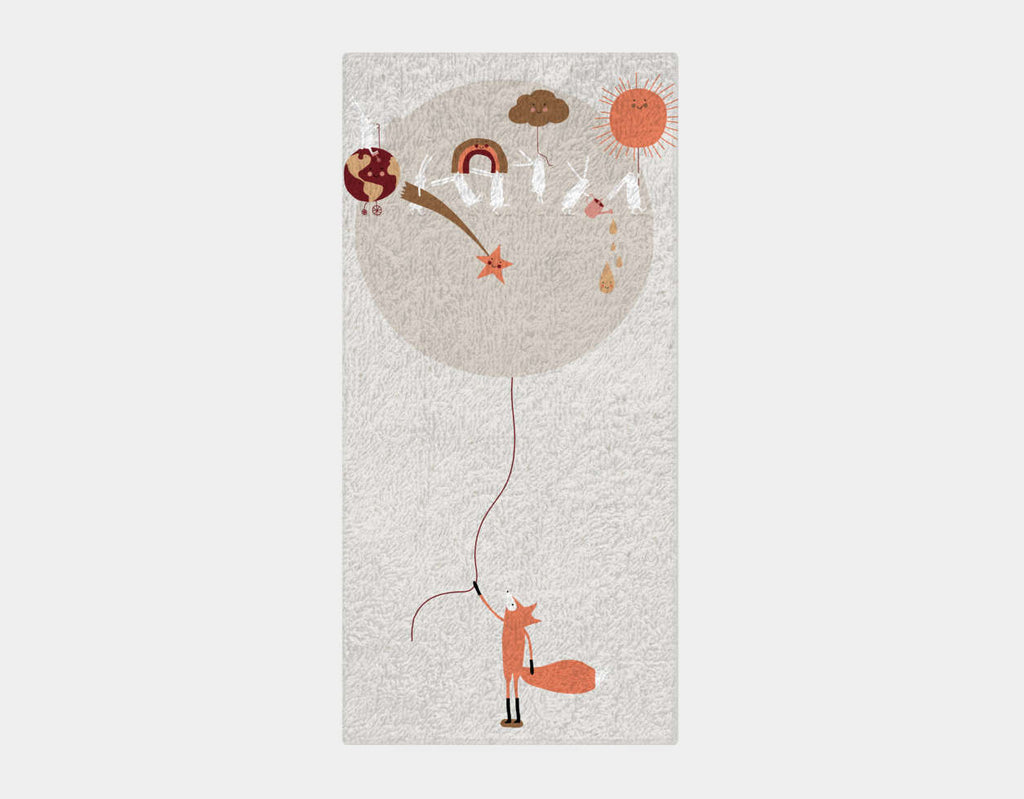 Happy Bunnies and The Moon Bath Towel by Sue Downing - Main
