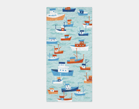 Boats in the Bay Bath Towel by Kyle Reed - Main