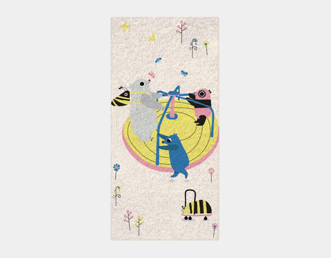 Happy Play Roundabout Bath Towel by Sue Downing - Main