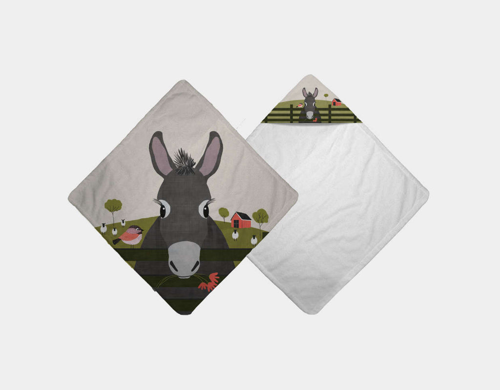 Dolores the Donkey Hooded Towel by Mel Armstrong - Main
