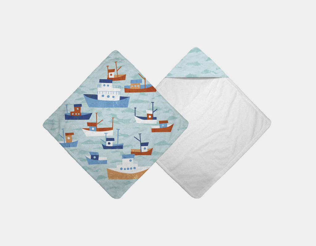 Boats in the Bay Hooded Towel by Kyle Reed - Main