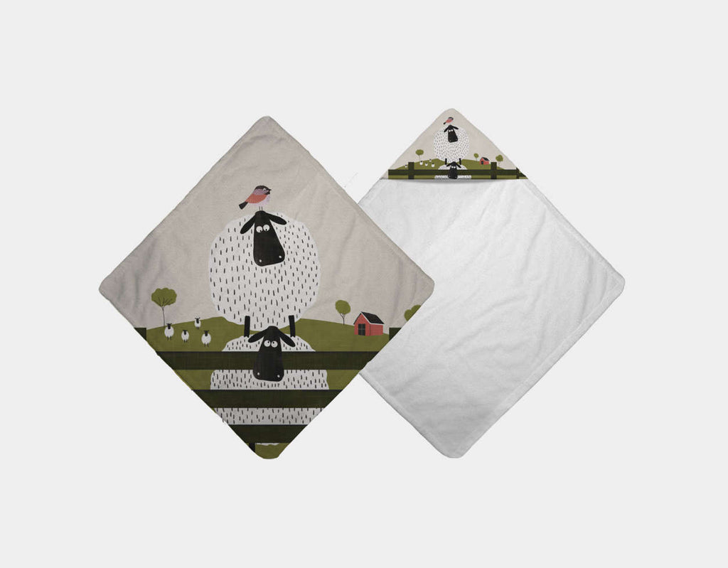 Counting Sheep Hooded Towel by Mel Armstrong - Main
