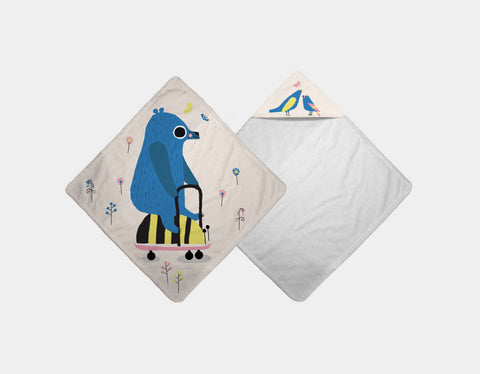 Happy Play Little Blue Bear Hooded Towel by Sue Downing - Main