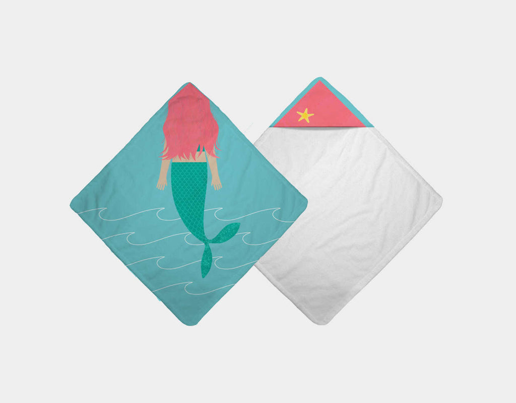Cute Mermaid Hooded Towel by Katie Rewse - Main