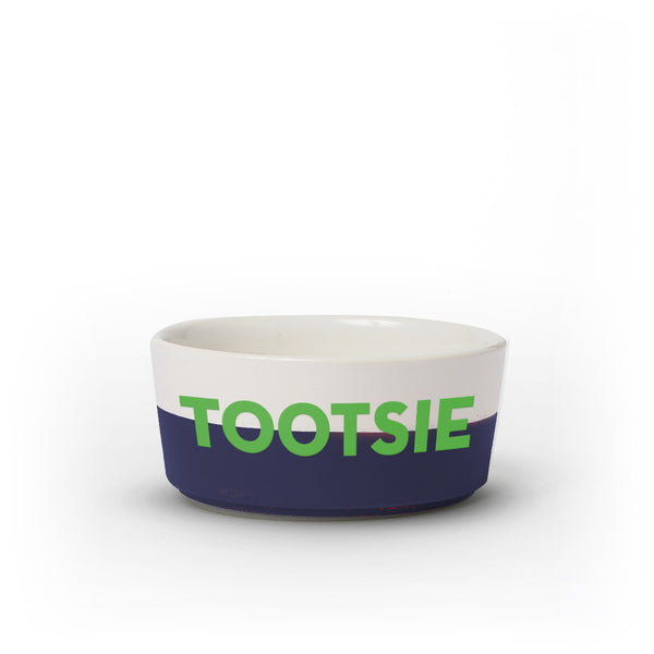 Colorblock Dog Bowl | Medium | Navy - Personalized