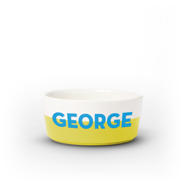 Colorblock Dog Bowl | Medium | Yellow - Personalized