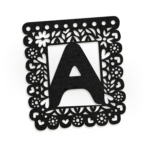 Papel Picado Custom Letter Garland | Black