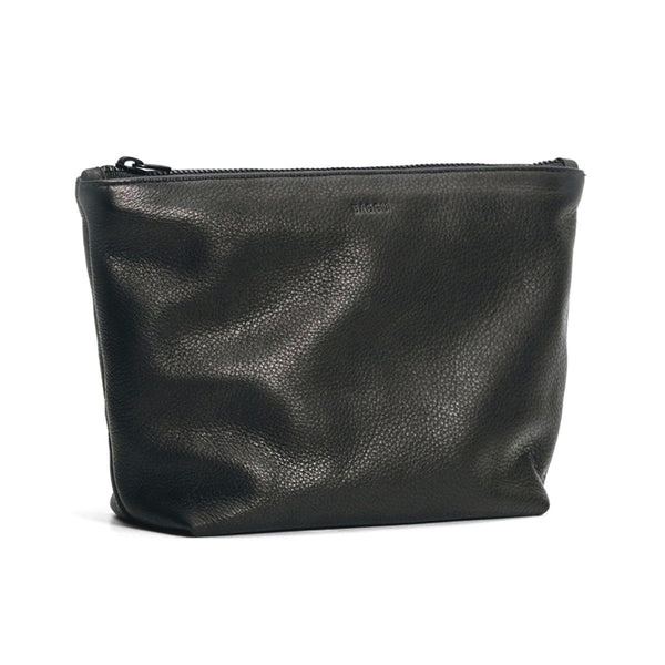 Medium Cosmetic Bag | Black Leather