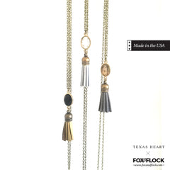 Grey and Champagne Tassel Necklace