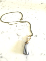 Silver and White Tassel Necklace