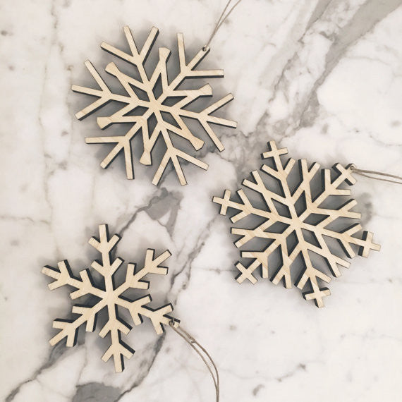 Wood Snowflake Ornament | Set of 3