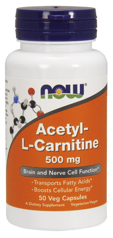 NOW Acetyl-L Carnitine 500 mg - 50 Vegetarian Capsules